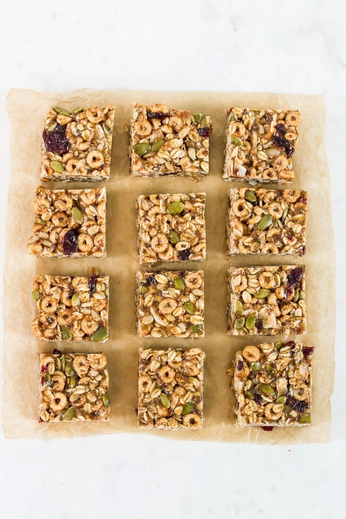 Superfood Cereal Squares -- Like trail mix in bar form, these cereal squares are packed with nutrient dense superfood seeds, whole grain cereal and dried fruit. They're held together with a blend of almond butter and honey so they're nutty, sweet and perfectly chewy with a little crunch from the cereal.