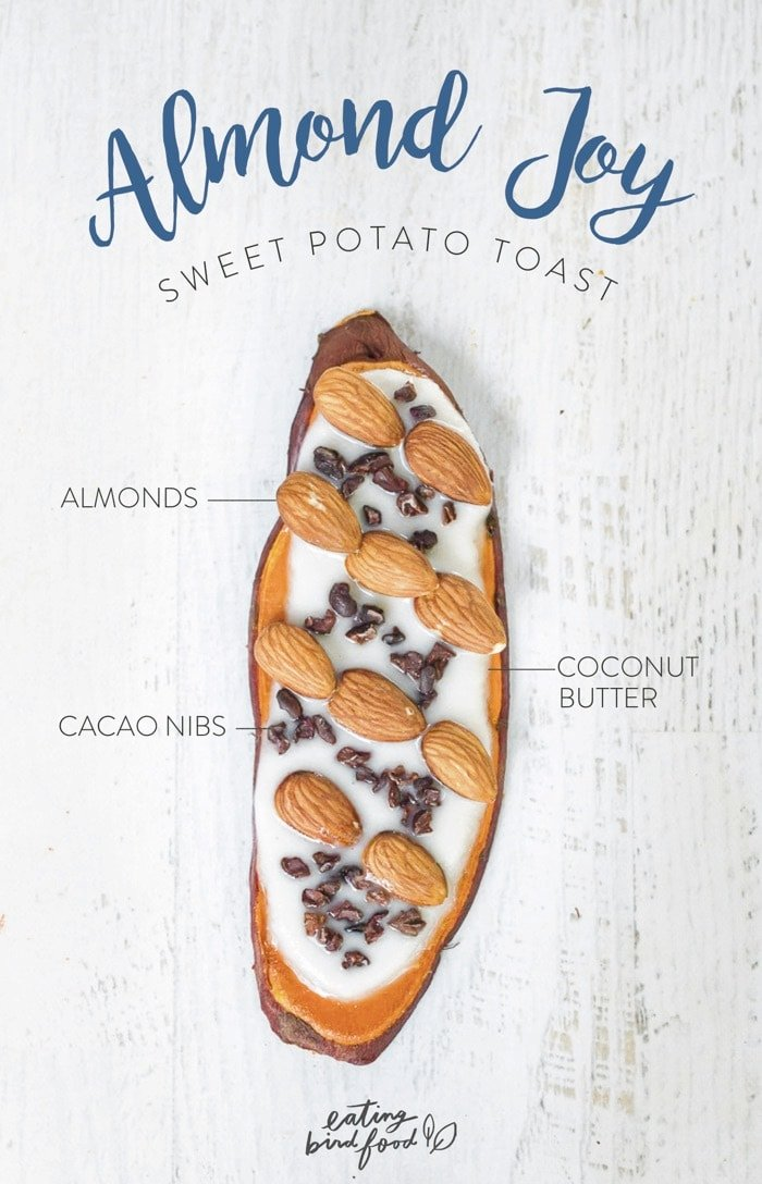 Overhead shot of Almond Joy Sweet Potato Toast with coconut butter, almonds and cacao nibs