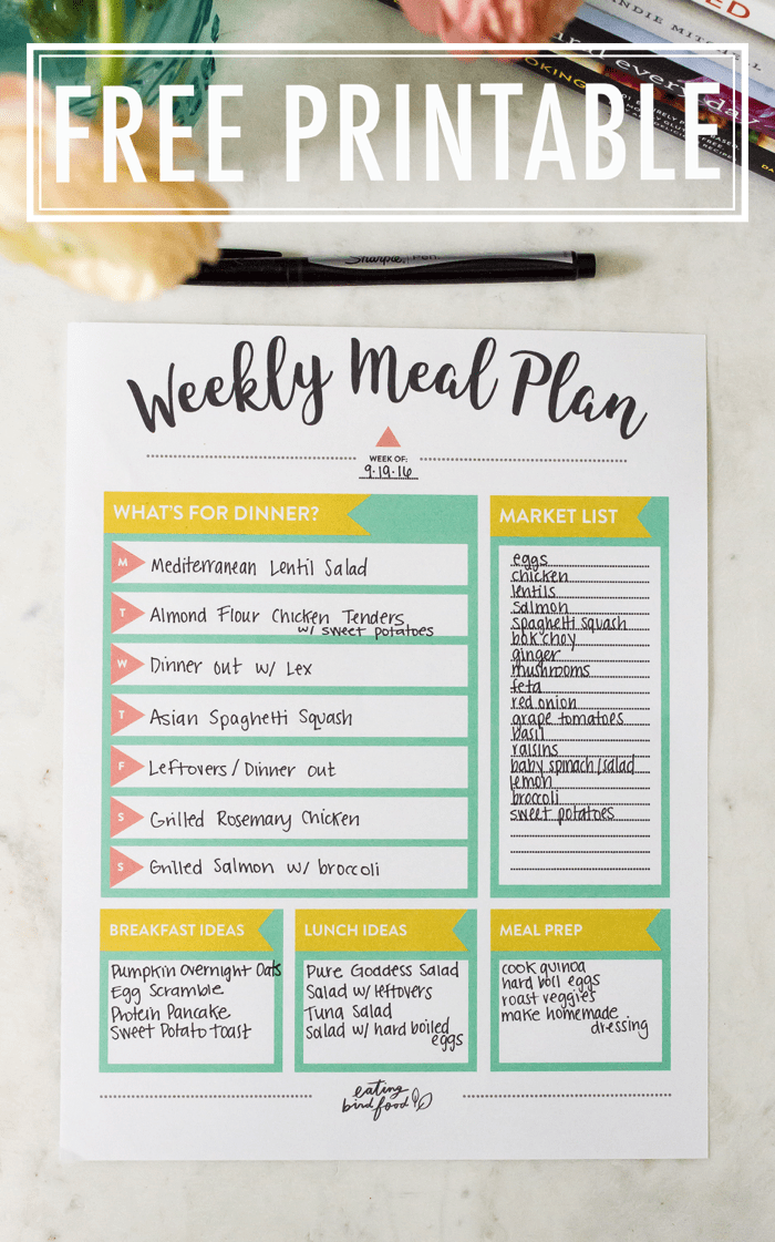 Invaluable image for meal plan printable