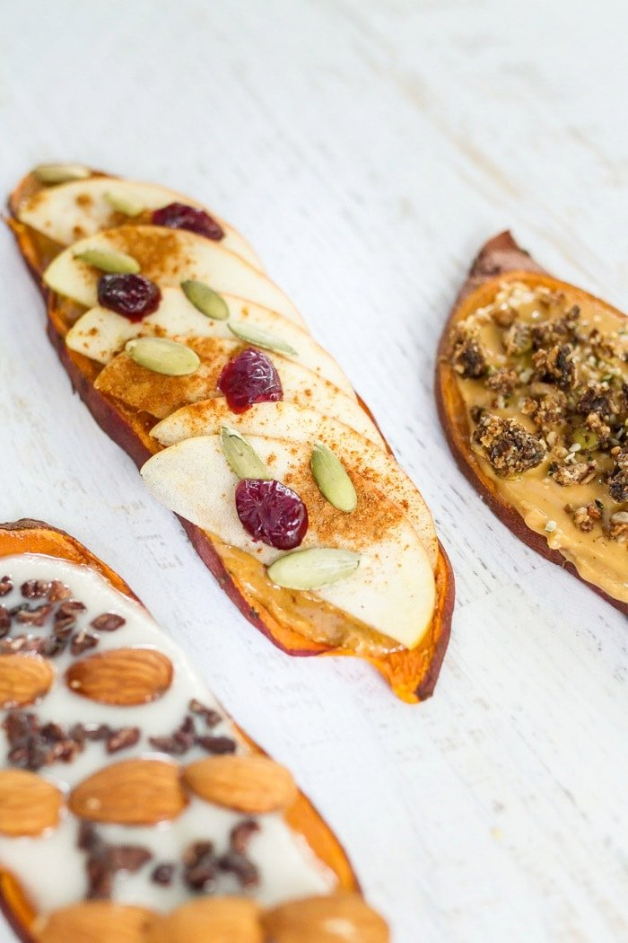 Close up of three sweet potato toasts.