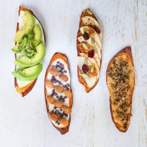 Overhead shot with four sweet potato toast flavors.