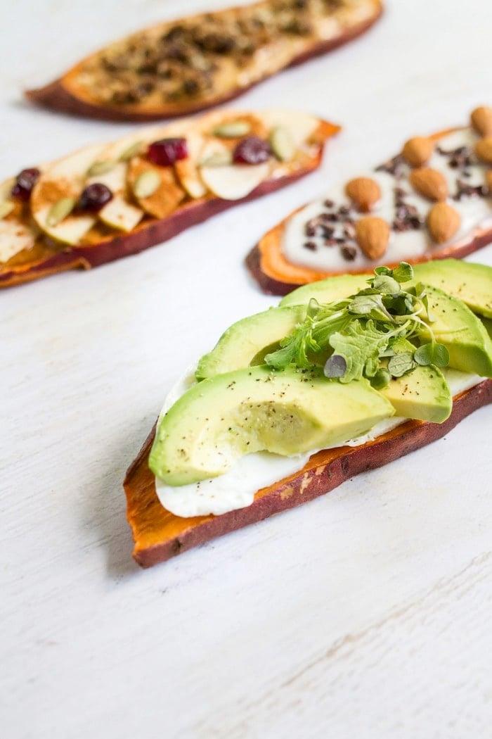 Breakfast Sweet Potato Toast Four Ways