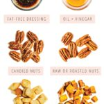 Side by side graphic comparing 7 unhealthy and healthy salad topping swaps.