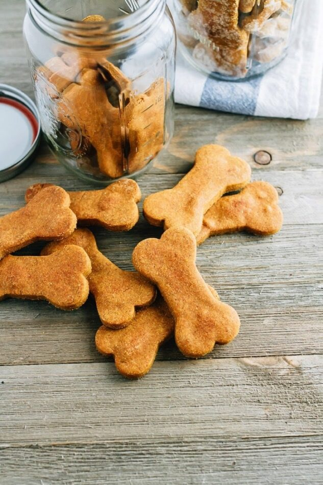 A pile of peanut butter pumpkin bone shaped dog treats on a wood surface, sitting in front of an open jar of the treats.