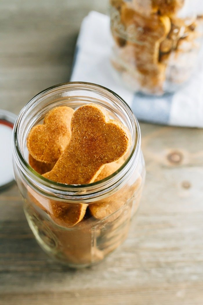 5-ingredient homemade peanut butter and PUMPKIN dog treats! They're super easy to make and the perfect fall treat for your furry friend.