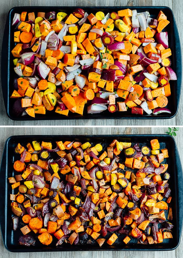 Caramelized roasted root vegetables with sweet potatoes, carrots, parsnips and fresh oregano. Such an easy side for the holidays or everyday meals.