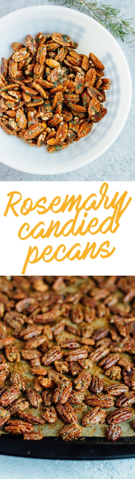 Rosemary Candied Pecans sweetened with coconut sugar. Crunchy, sweet, savory and perfect for snacking!