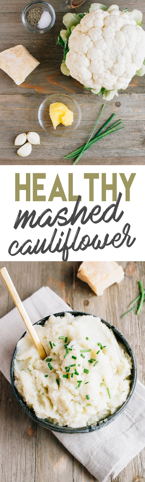 6-Ingredient Mashed Cauliflower // Low in carbs and only 110 calories per serving!