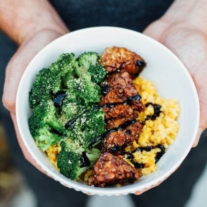 Cooking with Tempeh: Maple Balsamic Tempeh Bowls with Pumpkin Rice