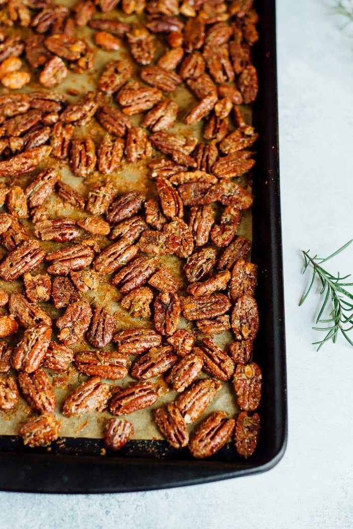 Rosemary candied pecans with coconut sugar.