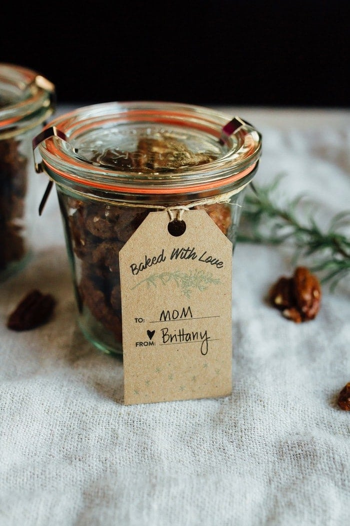 Sweetened with coconut sugar, these Rosemary Candied Pecans are such an easy DIY holiday gift. Plus free 'Baked With Love' printable gift tags!
