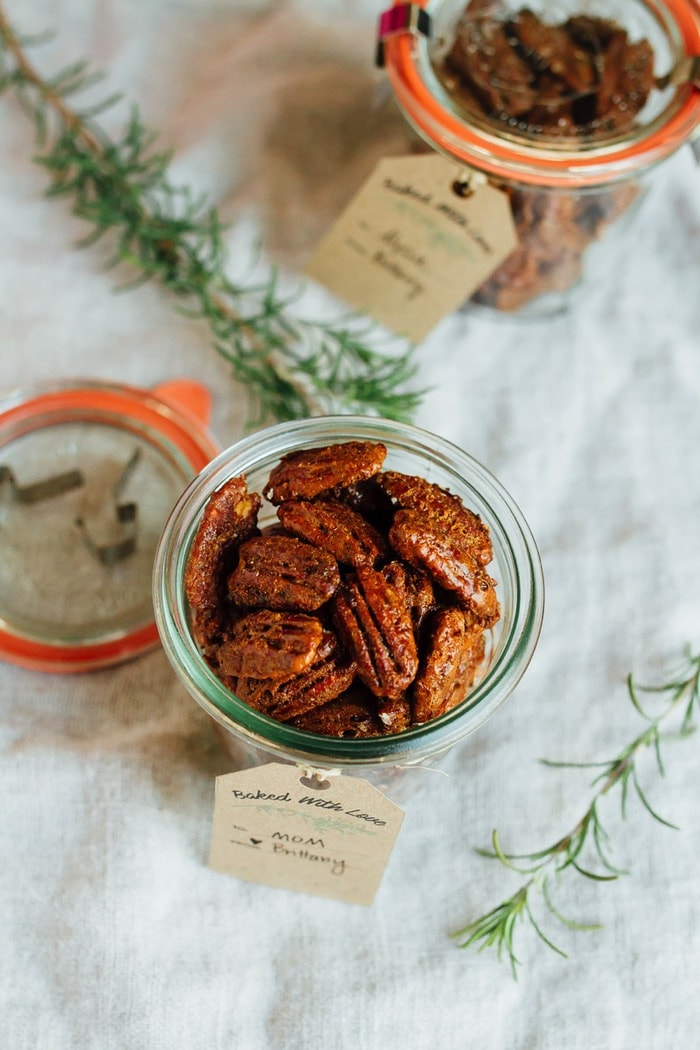 Rosemary Candied Pecans sweetened with coconut sugar.