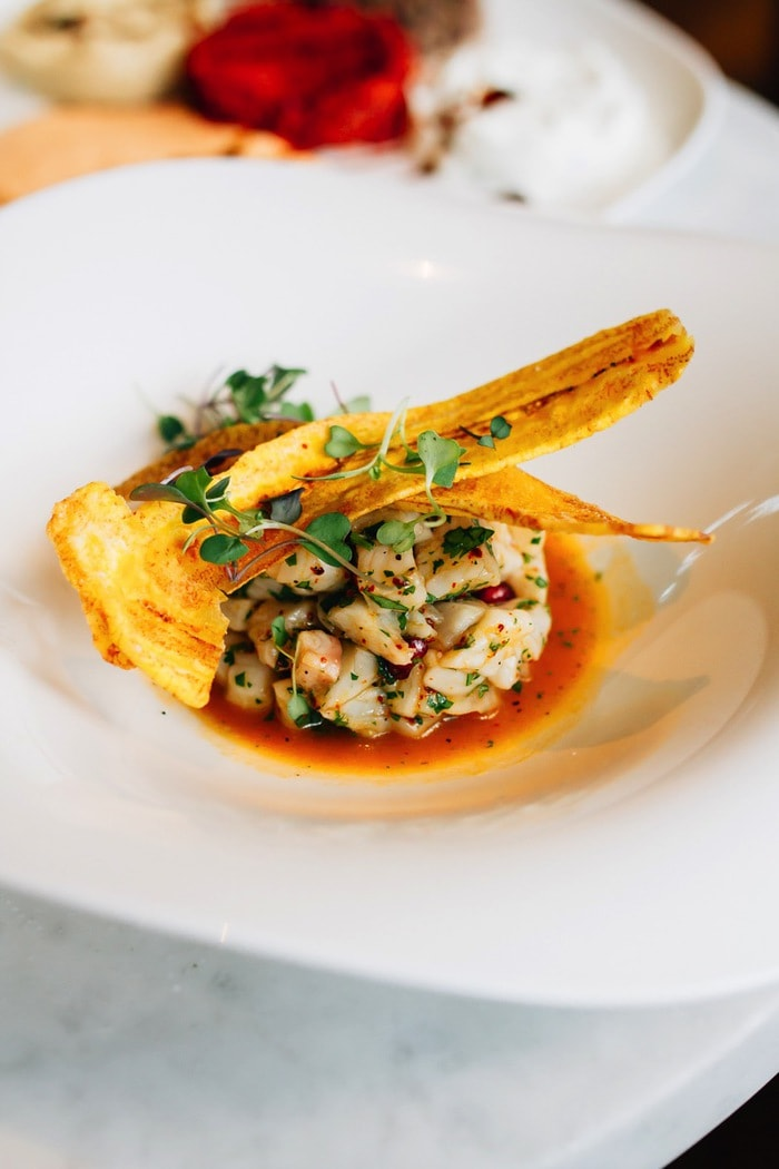 Fish Bar Pier 81 -- Ceviche with Plantain Chips
