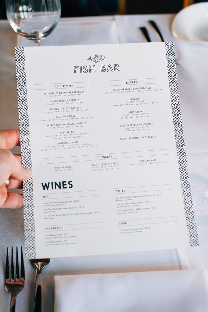 Fish Bar Pier 81 Dinner Menu