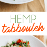 Two photos of hemp heart tabbouleh in a shallow bowl. A hand is dipping a pita triangle into the tabbouleh.