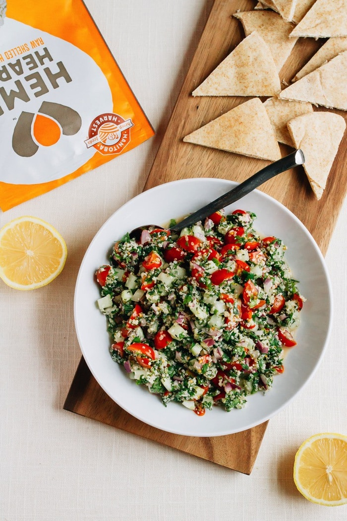 Protein packed Hemp Heart tabbouleh made with Manitoba Harvest Hemp Hearts! Perfect for serving with pita bread.