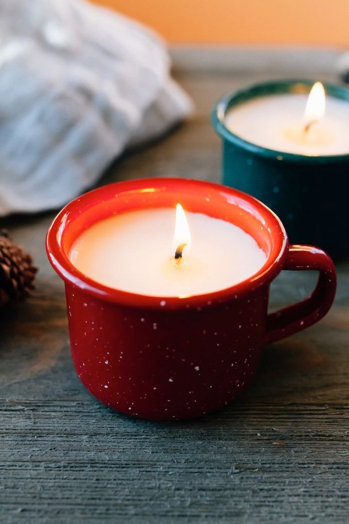 Homemade Mini Enamelware Mug Candles