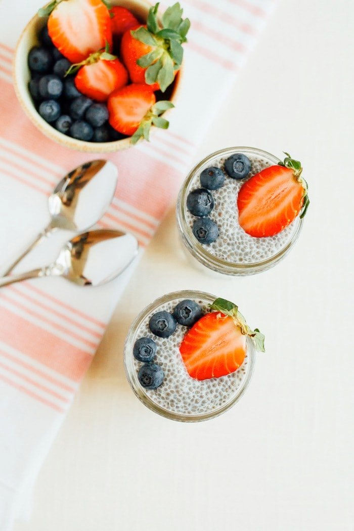 basic chia seed pudding eating bird food