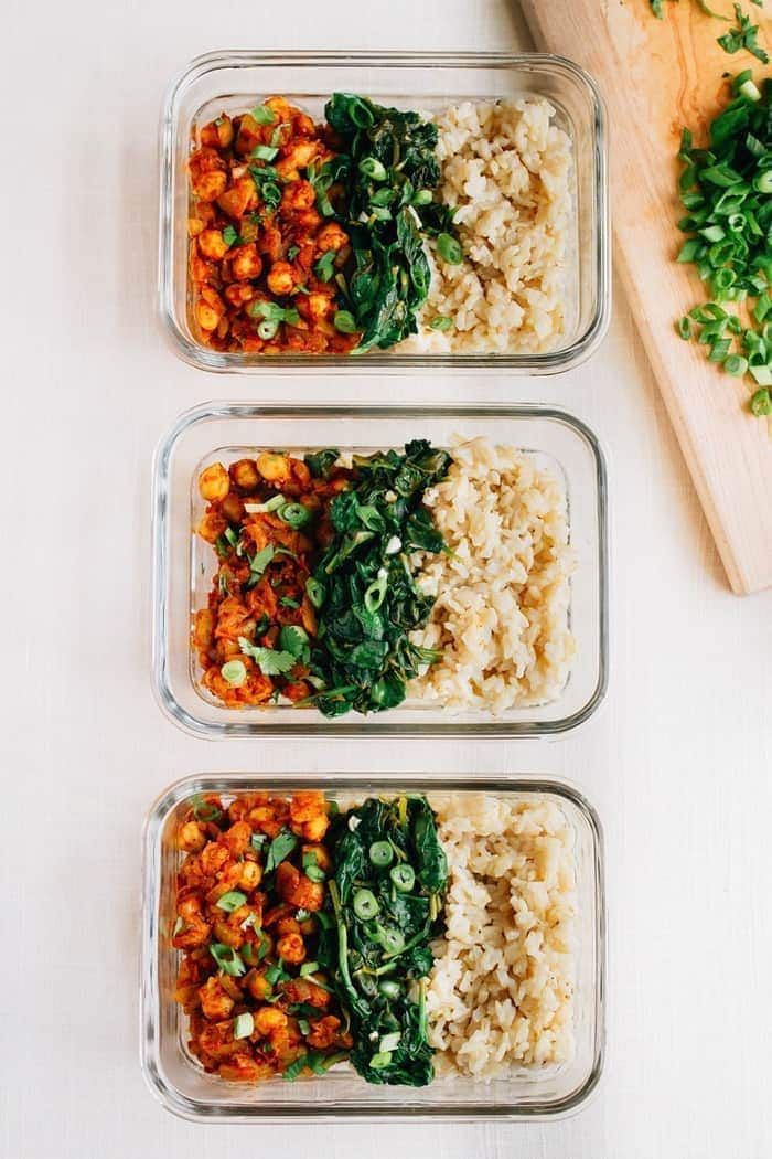 Top Curried Chickpea Bowls with Garlicky Spinach | Eating Bird Food &FY46