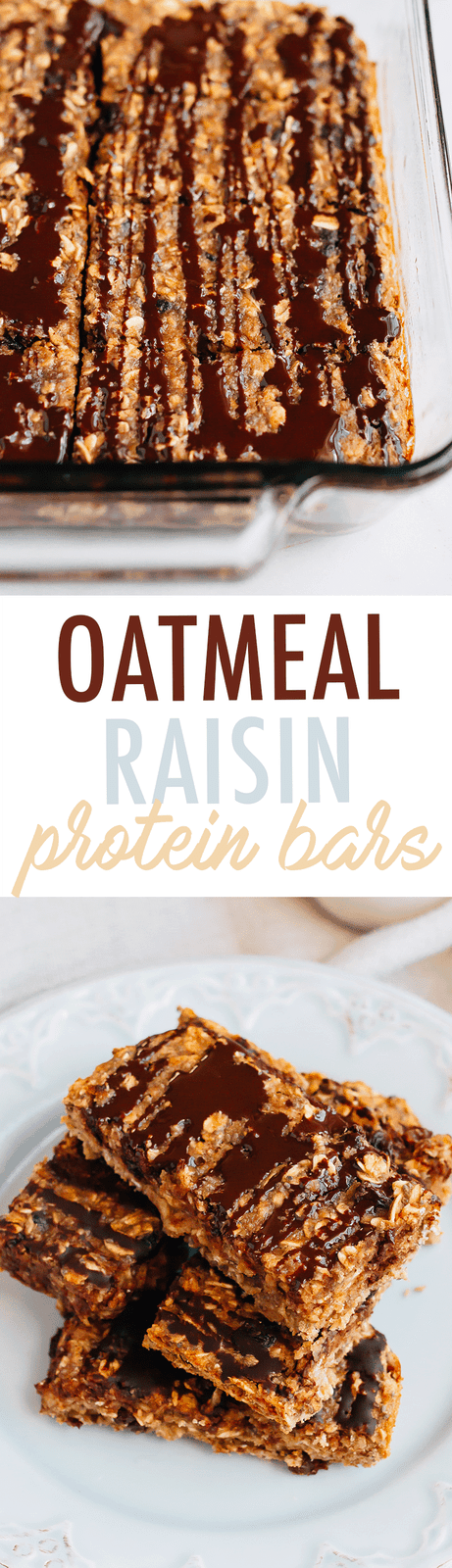 These cinnamon oatmeal raisin protein bars taste like an oatmeal raisin cookie drizzled with dark chocolate. They're great as a pre-workout snack and also make for an energizing on-the-go breakfast option for busy mornings.