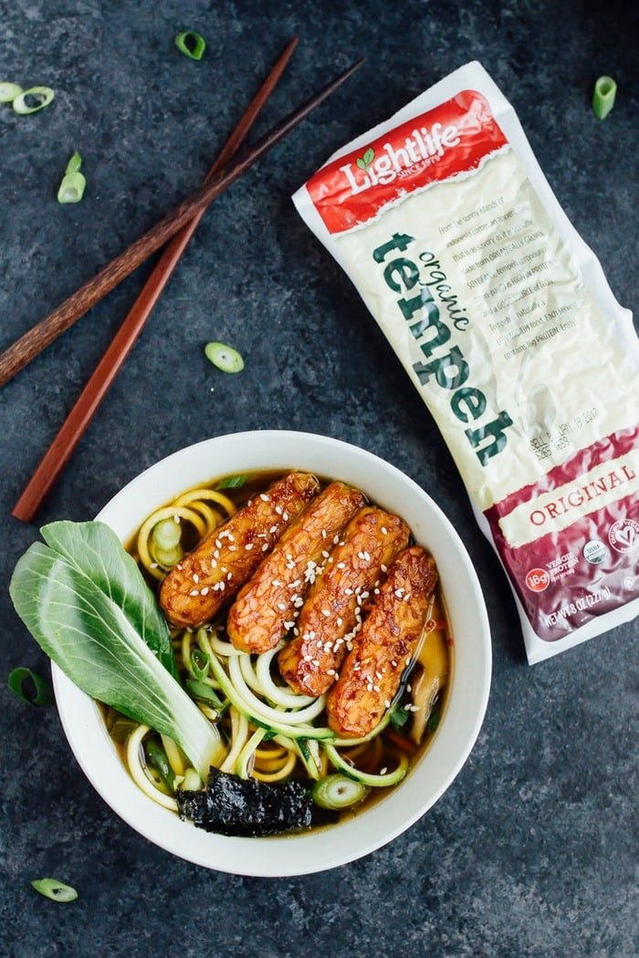 Vegan Zucchini Noodle Ramen with Lightlife Tempeh