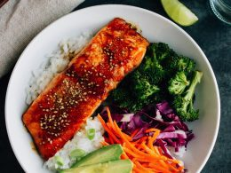 Teriyaki Salmon With Broccoli And Rice Bowl Meal Eating Bird Food
