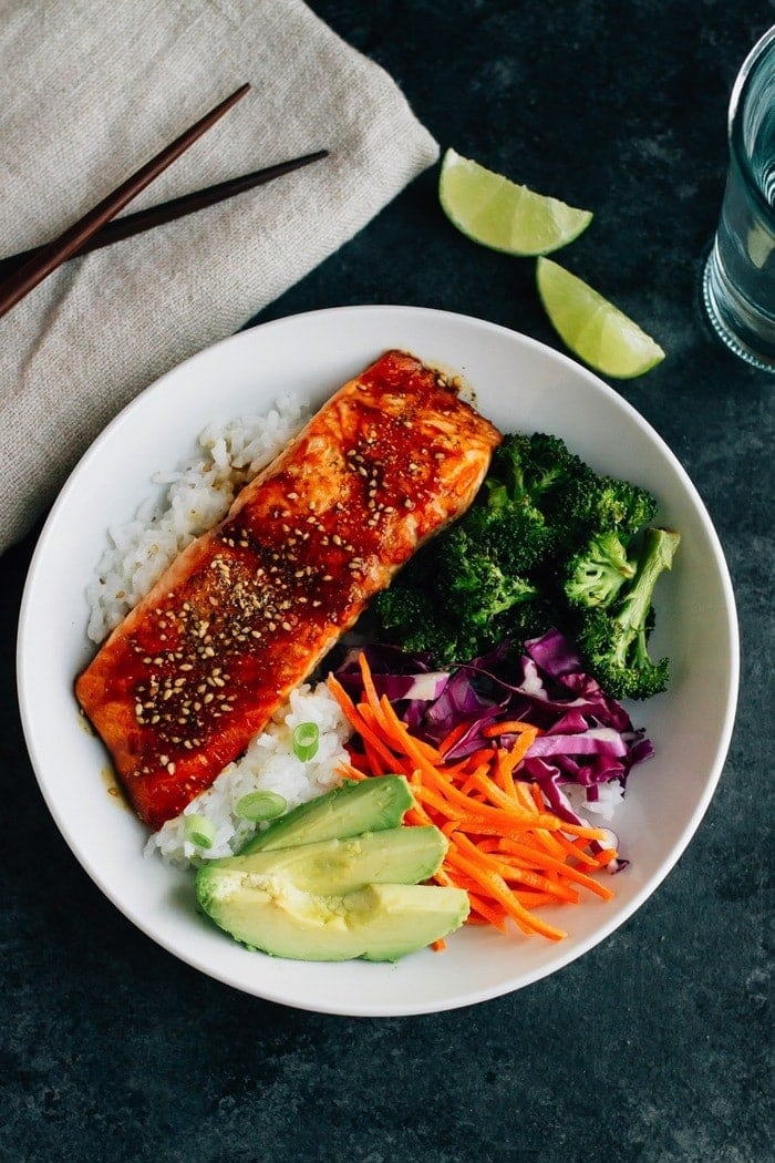 025538cd065c These Teriyaki Salmon Bowls come together quickly for a healthy and  delicious weeknight meal. Bake