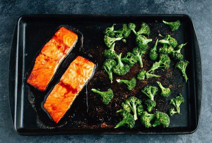 Teriyaki Salmon Bowls // Roast salmon and broccoli on one sheet pan for easy clean-up