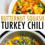 Photos of butternut kale turkey chili in two bowls, and the chili in an instant pot with fresh kale on top.
