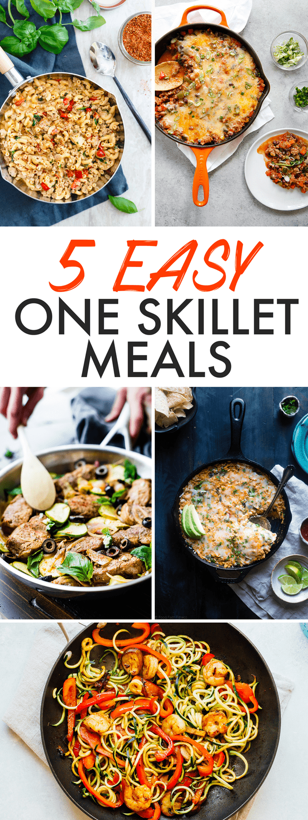 5 Easy + Healthy One Skillet Meals -- these one pan wonders make weeknight dinner a breeze.