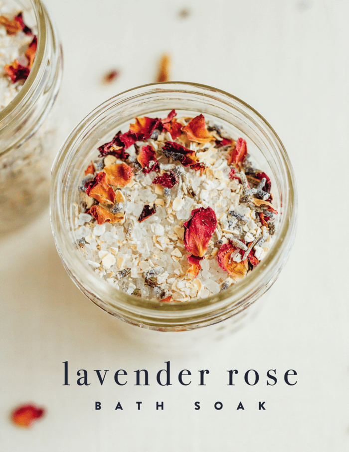This quick and easy DIY lavender rose bath soak turns a regular bath into a relaxing, spa-like experience. Make a batch and treat yourself to an indulgent soak or package the mix into cute jars to give as a gift.