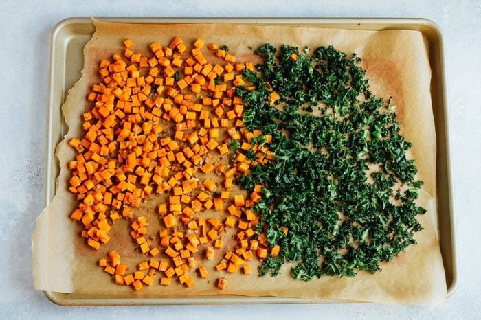 Roasted Sweet Potatoes and Kale