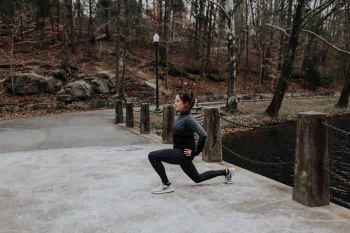 Do walking lunges as part of your race day warm-up.