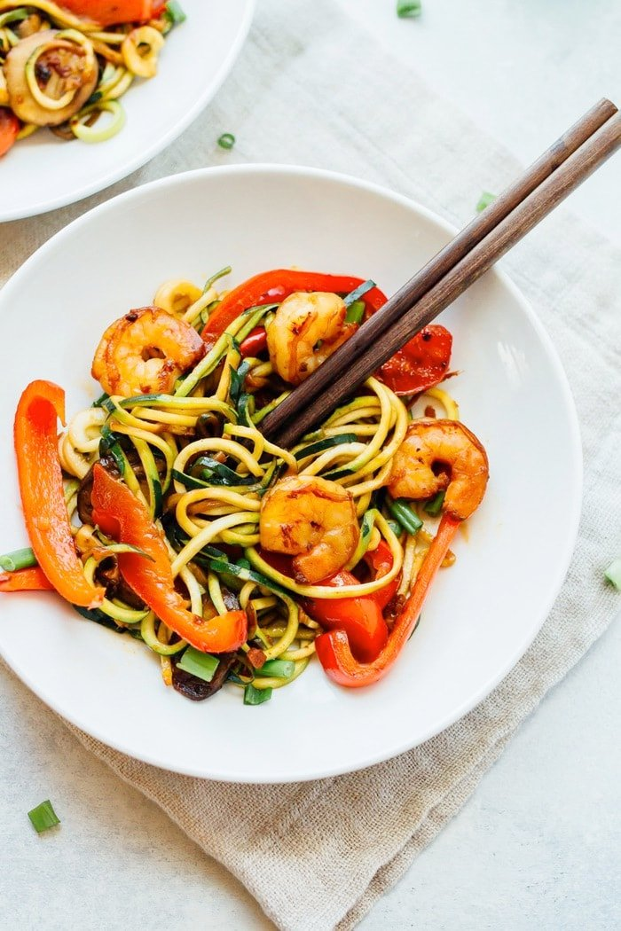 One Skillet Zucchini Noodle Shrimp Lo Mein