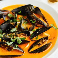 Coconut curry mussels with zucchini noodles.