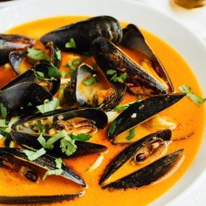 Coconut Curry Mussels with Zucchini Noodles