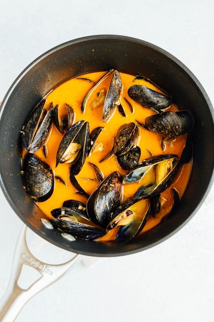 Cooking Coconut Curry Mussels