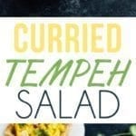 Collage of photos of curried tempeh salad in a serving bowl and on bread.