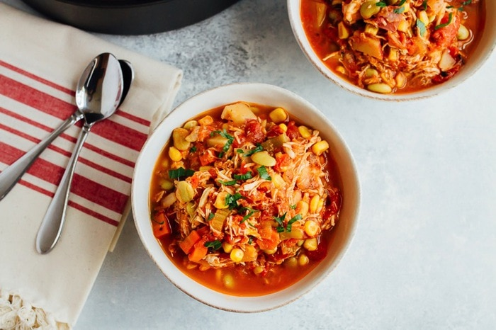 This healthy Brunswick stew is just like the southern classic, but made with simple and wholesome ingredients -- no ketchup or bbq sauce needed!