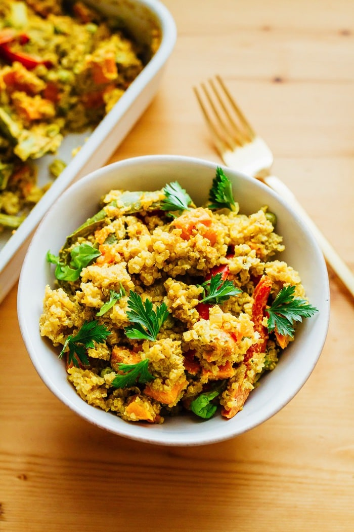 Sweet Potato Green Curry Quinoa Casserole