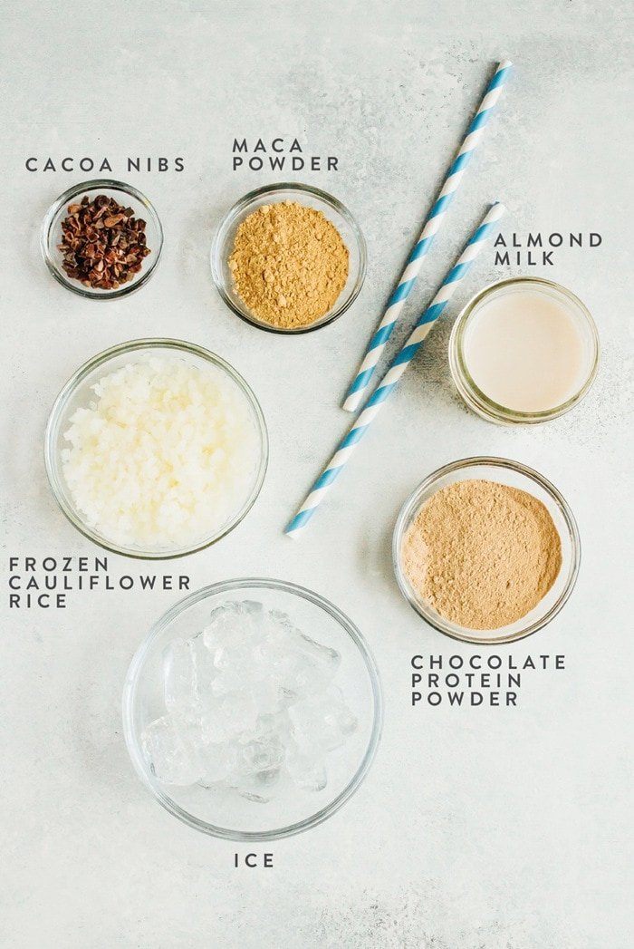 Malted Chocolate Cauliflower Smoothie Ingredients