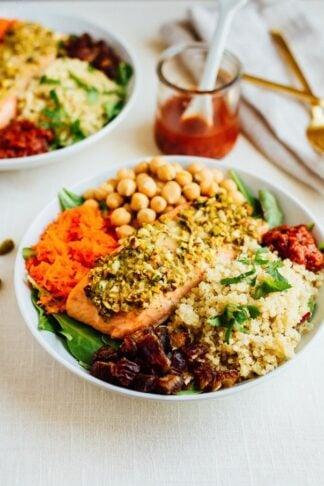 Pistachio Salmon Salad with Spicy Harissa Dressing