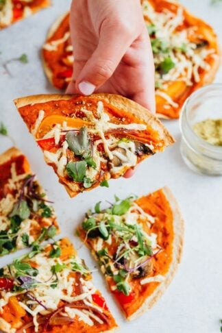 Tortilla Pizzas with Hummus