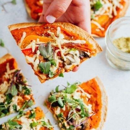 Tortilla Pizzas with Hummus