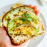 Hummus Avocado Toast with Toasted Hemp Seeds