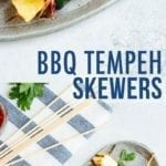 Bbq tempeh skewers with pineapple, onion, and zucchini.