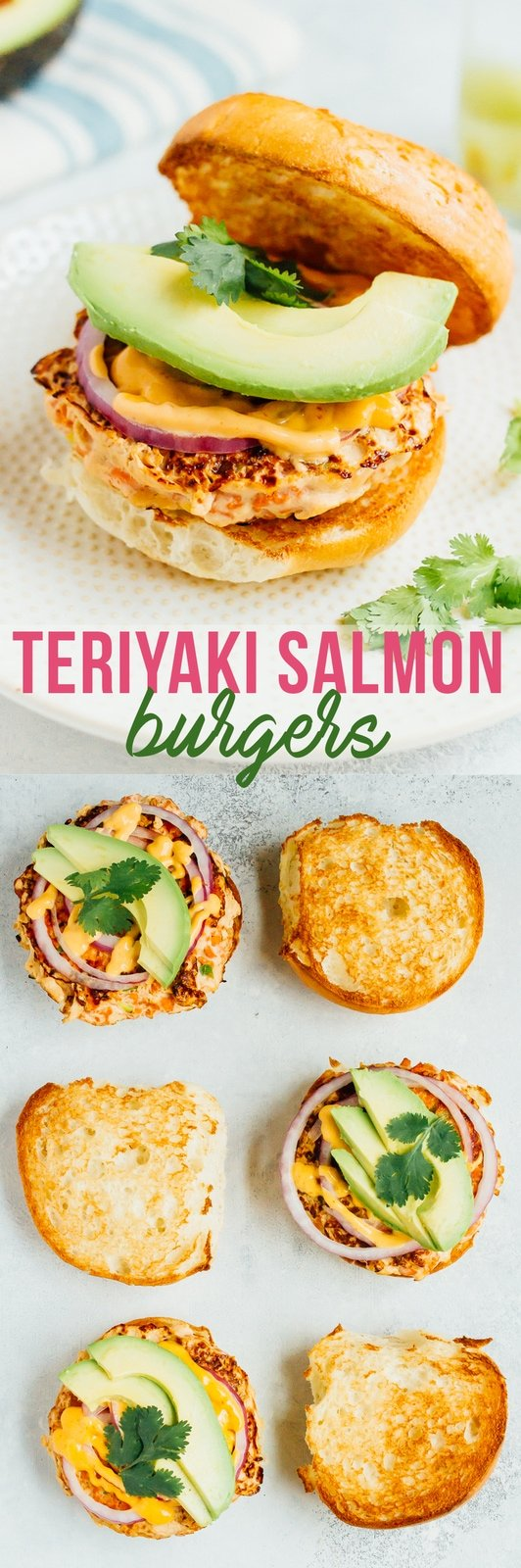 Teriyaki Salmon Burgers with Sriracha Mayo, Avocado, Red Onion and Cilantro.