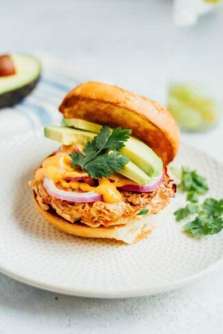 Teriyaki Salmon Burgers with Sriracha Mayo