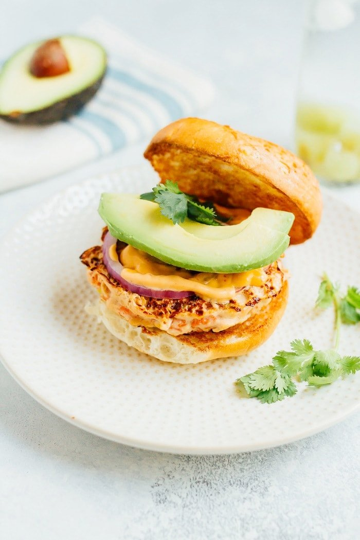 Teriyaki Salmon Burgers with Sriracha Mayo
