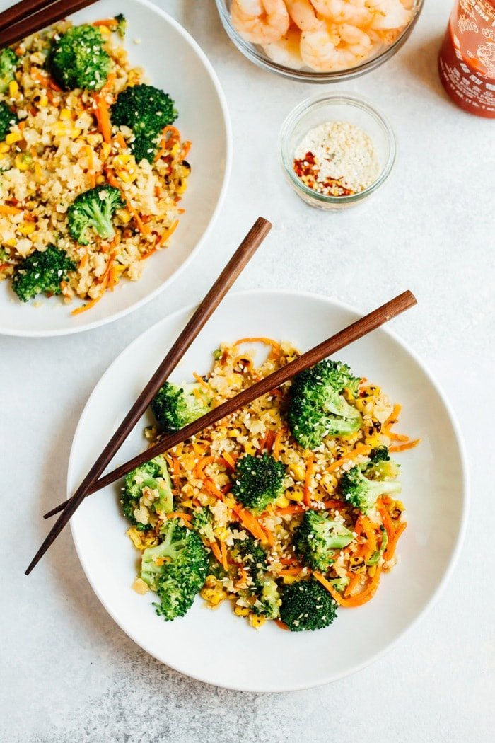 Cauliflower fried rice has the texture and flavor you crave from traditional fried rice, but it's loaded with veggies, high in fiber and low in carbs. Serve with your favorite protein for a nourishing, paleo-friendly meal.
